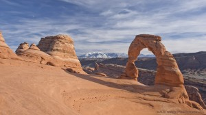 Delicate Arch, La Sal Mountains, Moon
