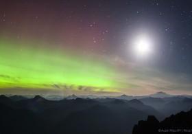 Moon, smoke, aurora borealis